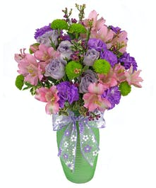 Small and sweet, an affordable bouquet in pretty pastel colors.