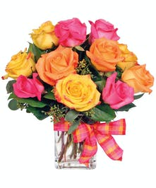 Gorgeous and brightly colored roses arranged in a clear rectangular cube.
