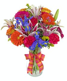 One of our best selling bouquets, such a striking combination of colors and flowers.