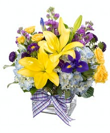 Bright yellow, purple and blue in a cube arrangement.