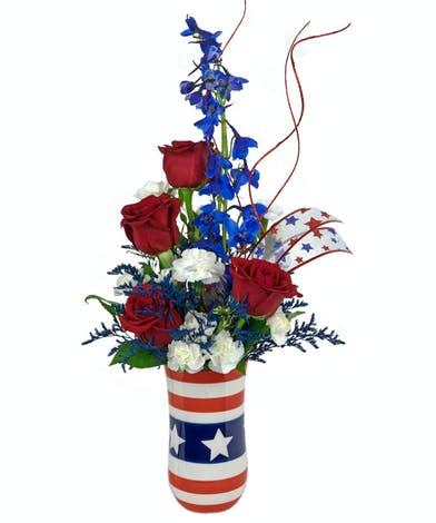 Patriotism is alive and well with this n ew Stars & Stripes bouquet.