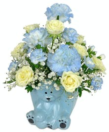 Choose blue for a sweet baby boy, and welcome the little one to the world.