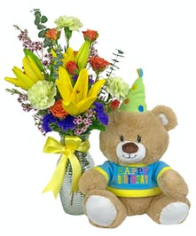 Birthdays are for celebrating, send fresh flowers and bear from Zeidler's.