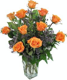 One dozen orange roses are ideal for any occasion or celebration.