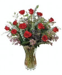 Gorgeous dozen red roses in deluxe crystal vase.