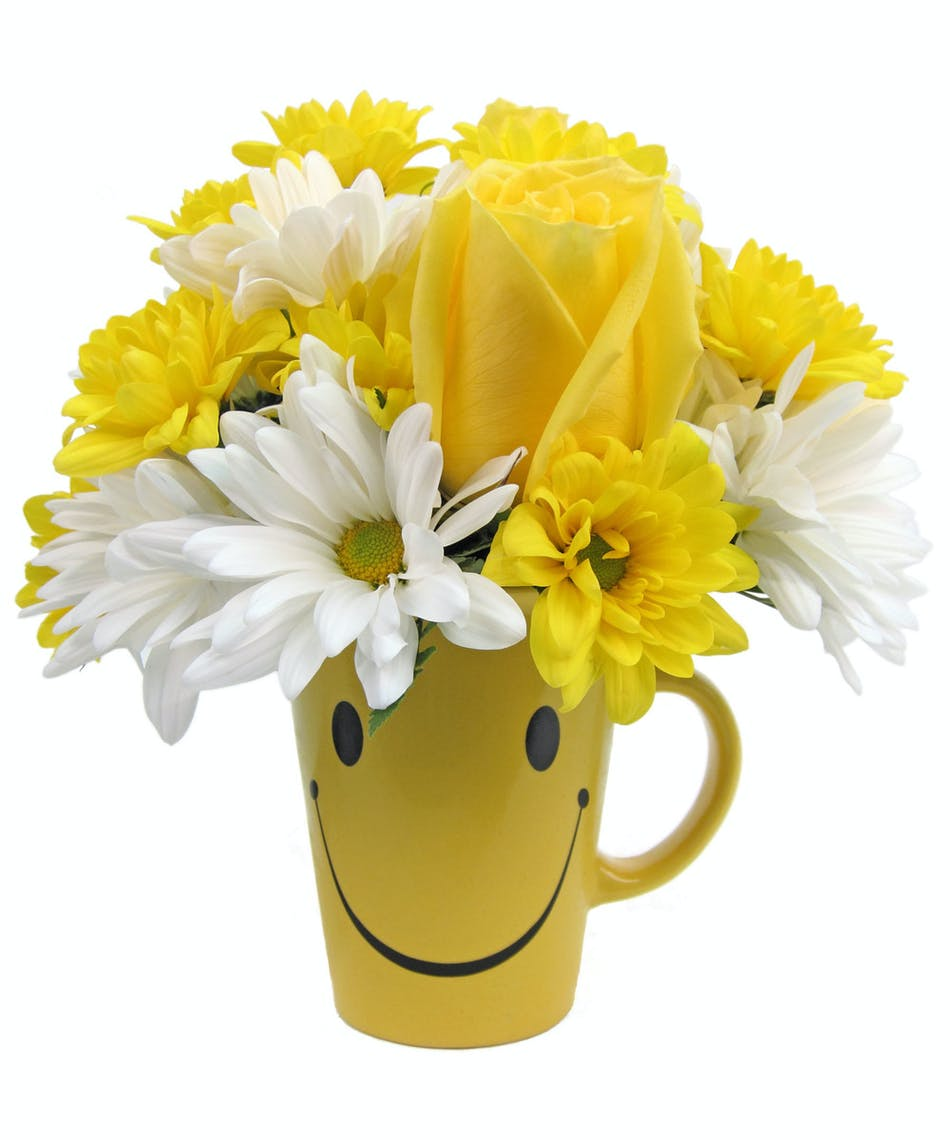 Evansville in flower delivery cheerful mug zeidlers flowers yellow smiley face mug filled with yellow roses and white and yellow daisies izmirmasajfo