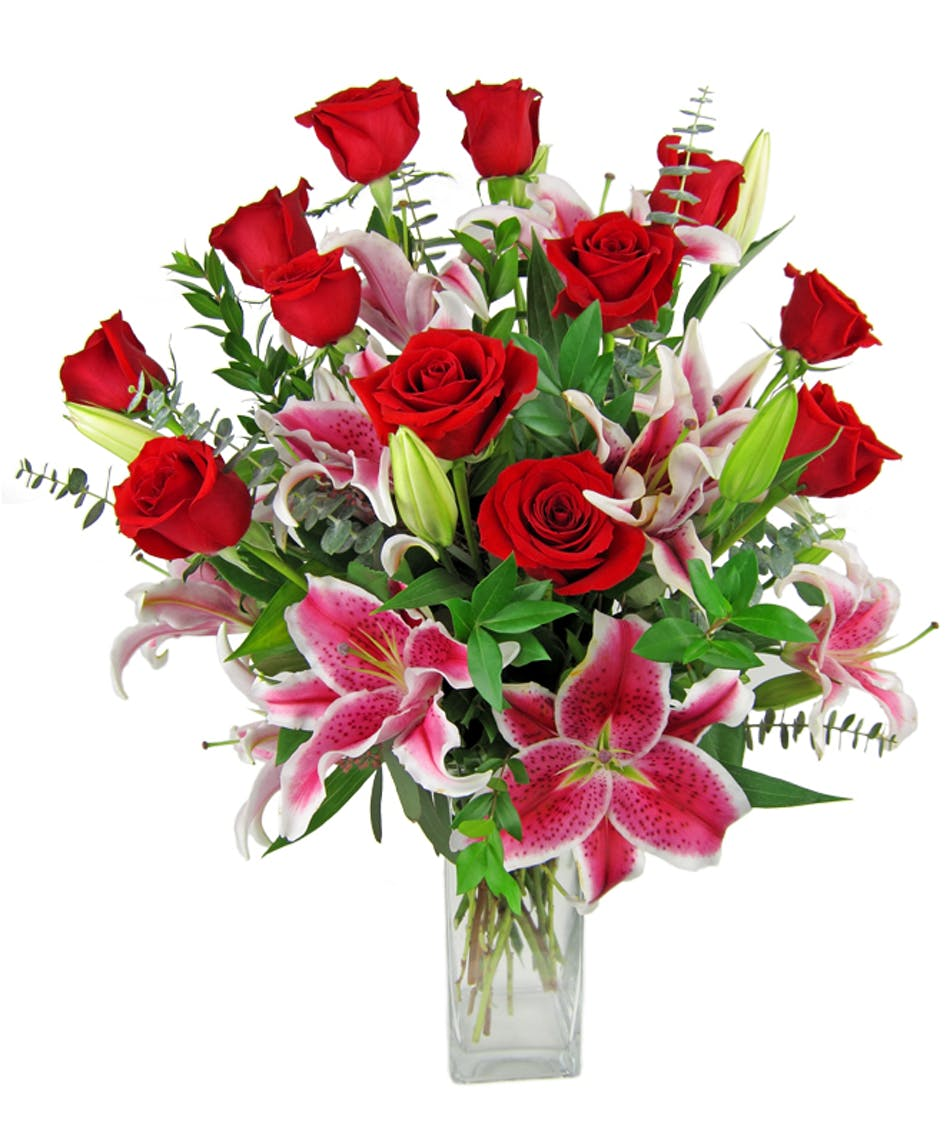 Red Roses And Stargazer Lilies Zeidler S Flowers