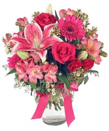 gorgeous bouquet of mixed pink fresh flowers
