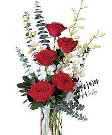 Classic - Vased Roses & Orchids