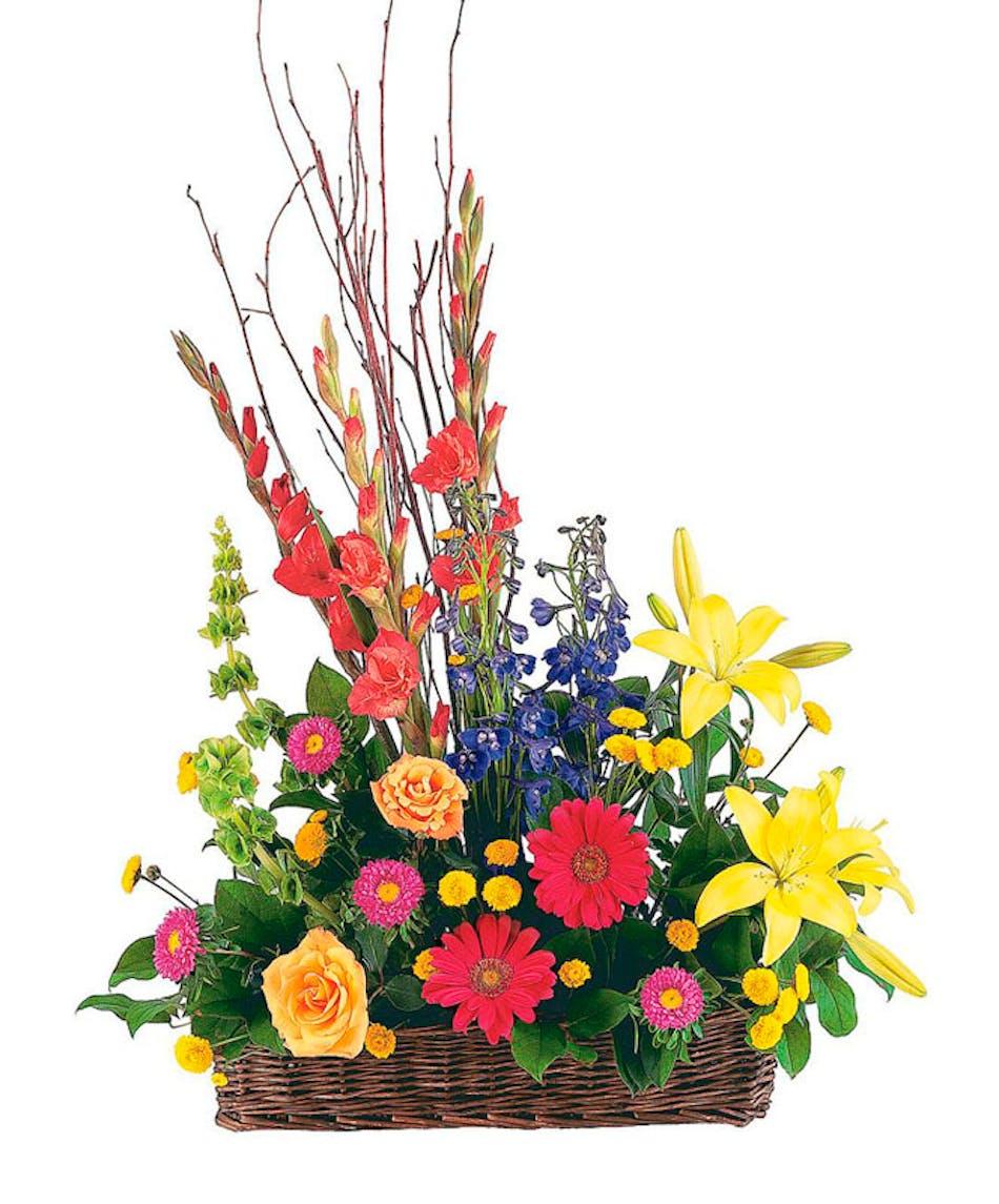 Heavenly garden basket arrangement zeidlers funeral flowers izmirmasajfo