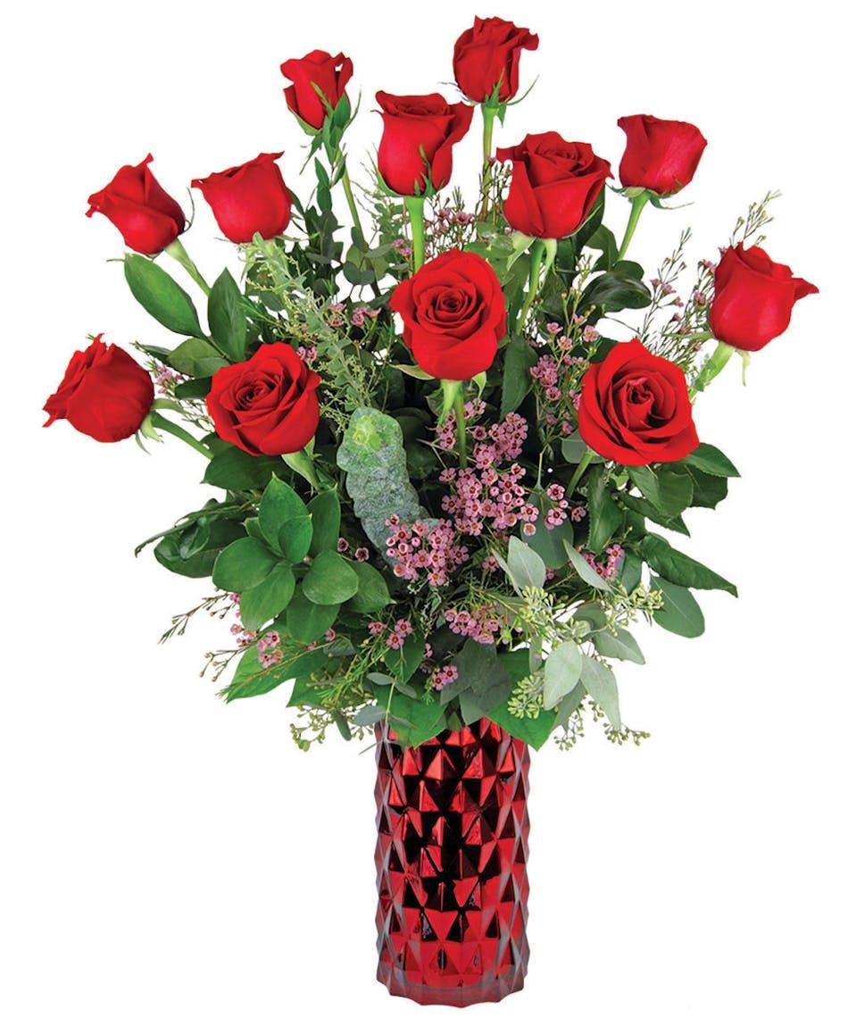 Long stemmed ultimate red roses zeidlers flowers evansville gorgeous dozen red roses in deluxe red diamond vase reviewsmspy