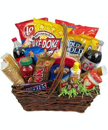 Snacks of all kinds are arranged in a basket, perfect for your celebration.