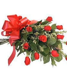 One dozen red roses, in an arm bouquet, with tissue and bow.