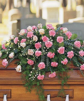 Cherish - Carnation & Rose Casket Spray