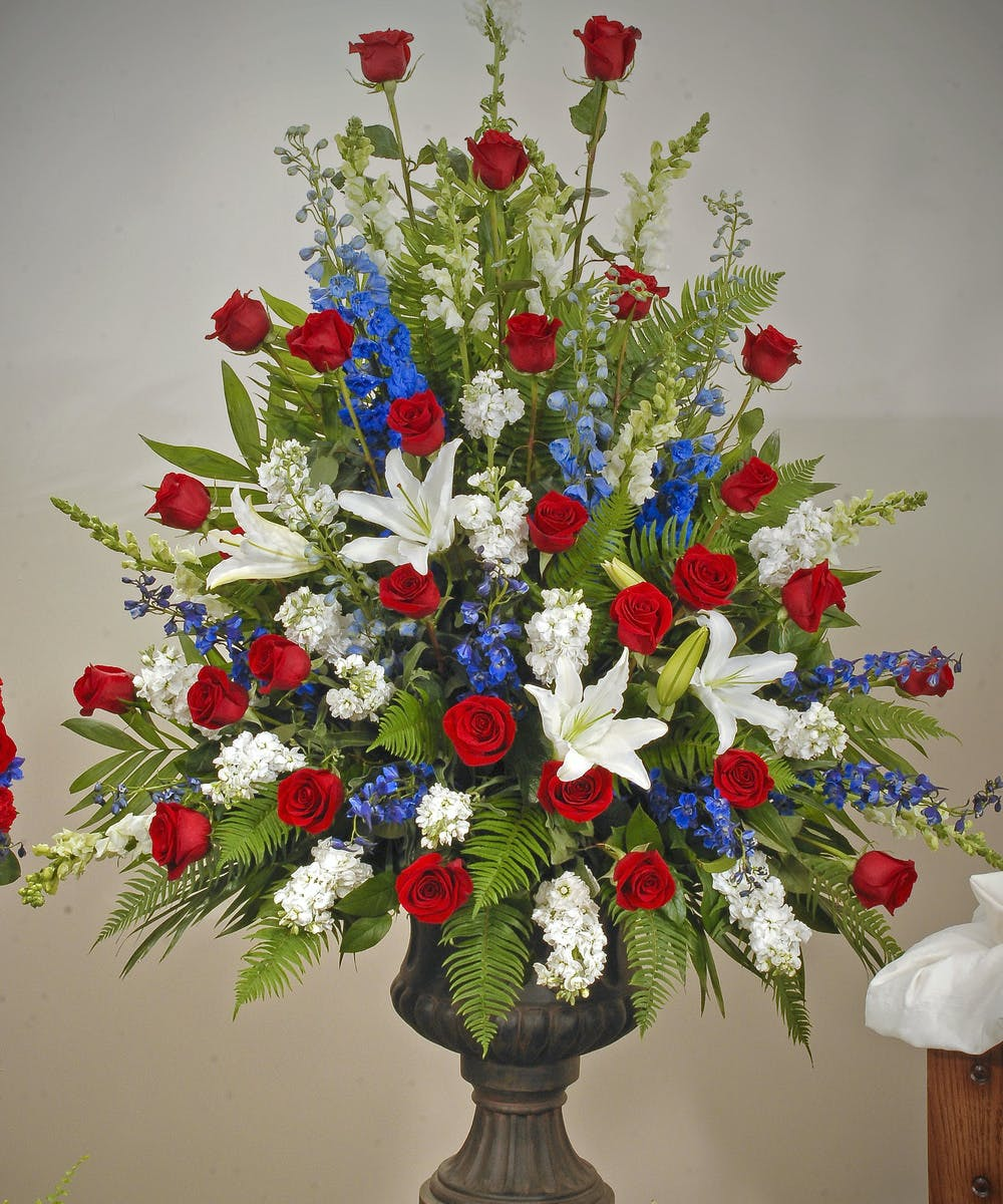 Patriotic urn arrangement evansville flower delivery