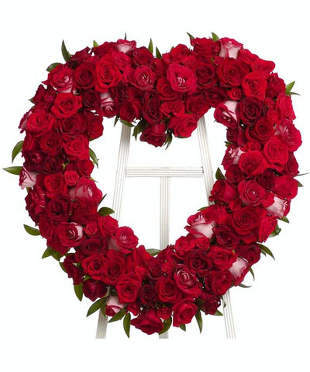 Rose Heart Wreath Funeral Flowers Evansville In